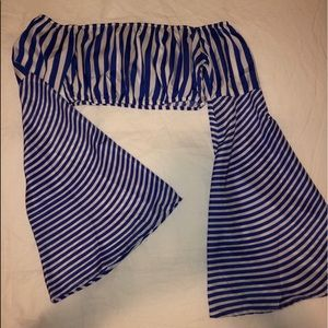Violet/White Striped Long Sleeve Crop Top